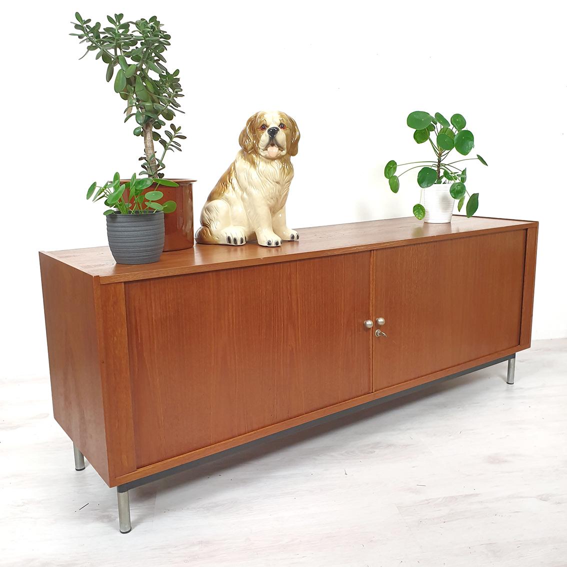 Vintage golden retriever puppy storage trunk
