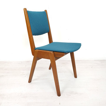 Vintage blauwe eetkamerstoel, opnieuw gestoffeerd