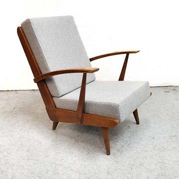 Vintage fauteuil, nieuwe gestoffeerde kussens