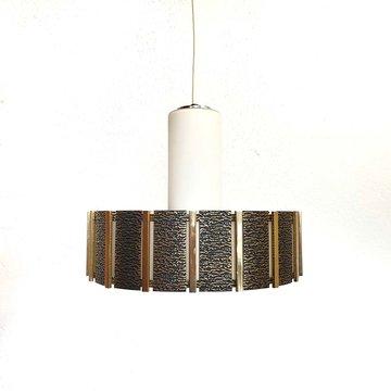 Vintage hanglamp, melkglas met gouden details