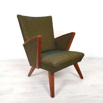 Vintage donkergroene fauteuil, originele bekleding