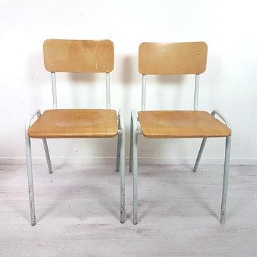 Vintage schoolstoelen, 10 stuks PRIJS PER STUK