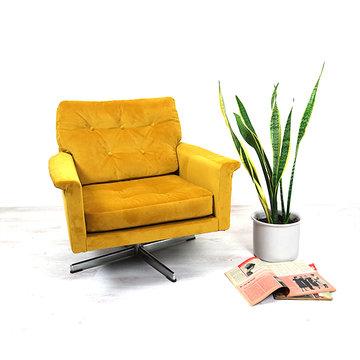 Gele vintage fauteuil Leolux
