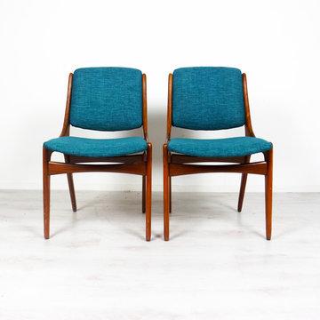 Vintage stoelen, opnieuw bekleed petrol