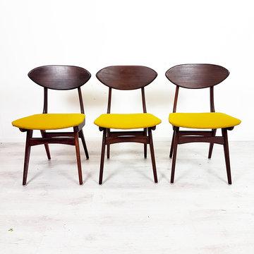 Drie vintage eetkamerstoelen