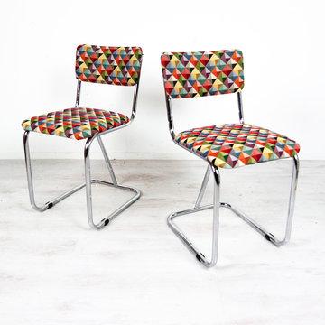 Twee vintage stoelen, opnieuw gestoffeerd