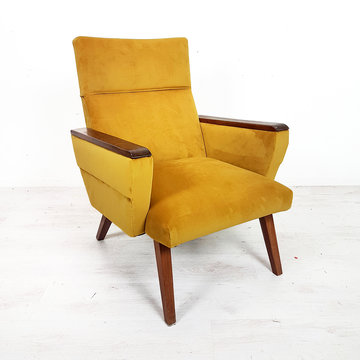 Vintage fauteuil, okergeel velours