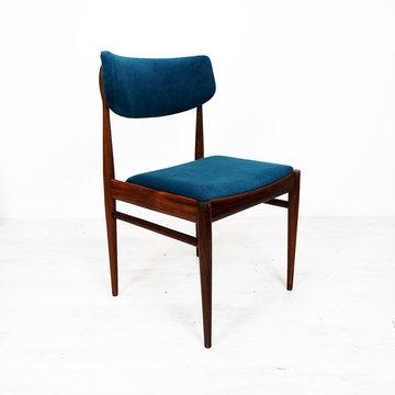 Vintage stoel, blauw velours