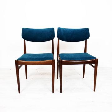 Vintage stoelen, blauw velours