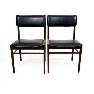 Vintage stoelen, zwarte skai bekleding
