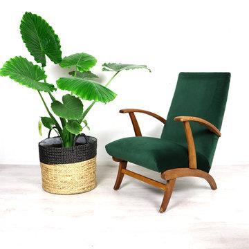 Vintage fauteuil, groen velours