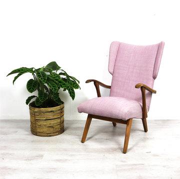 Vintage, lichtroze fauteuil