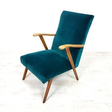 Vintage fauteuil, petrol velours