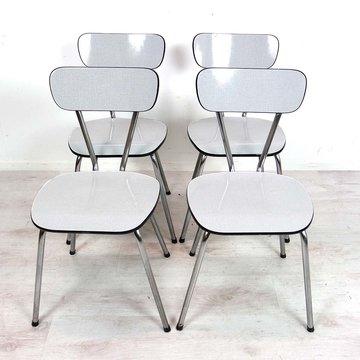 Vintage formica stoeltjes, wit