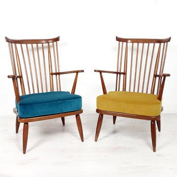 Vintage spijlen fauteuil (blauwe is gereserveerd)