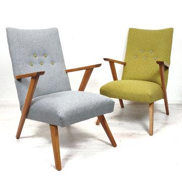 Vintage fauteuils, opnieuw gestoffeerd
