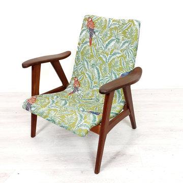 Vintage fauteuil, stof vogelprint