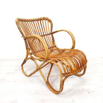 Vintage rotan stoel met armleuningen