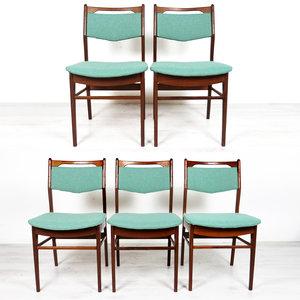 Vijf vintage stoelen, mintgroen