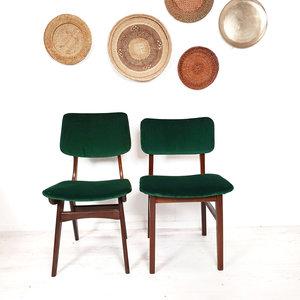 Vintage eetkamerstoelen, groen velours