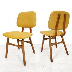 Twee vintage stoelen, geel