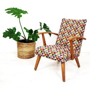 Vintage fauteuil, vrolijke print