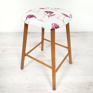 Vintage krukje, flamingo stof