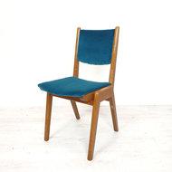 Vintage blauwe velours eetkamerstoel, opnieuw gestoffeerd