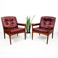 Vintage skai stoelen rood