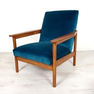 Vintage fauteuil, blauw velours