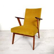 Vintage fauteuil, geel verlours