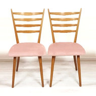 Vintage stoelen, roze velours