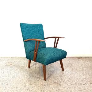 Vintage fauteuil, nieuwe petrolkleurige bekleding