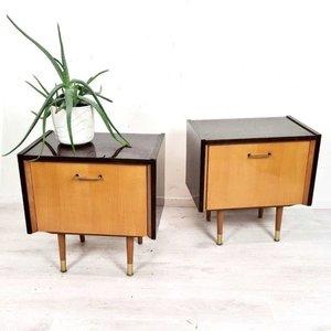 Set van twee vintage nachtkastjes